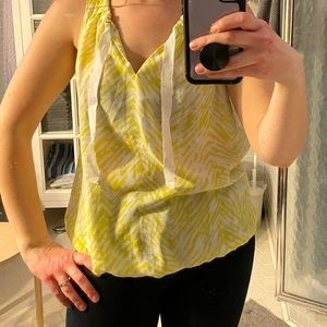 Yellow and white loft tank top